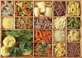 pasta collection in wooden box